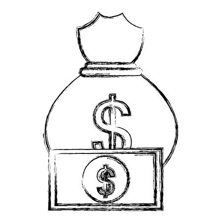 money bag with bills vector illustration design Stock Vector - 104082003