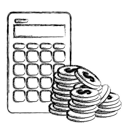 coins money with calculator vector illustration design Ilustração