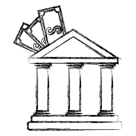 bank building with bills vector illustration design