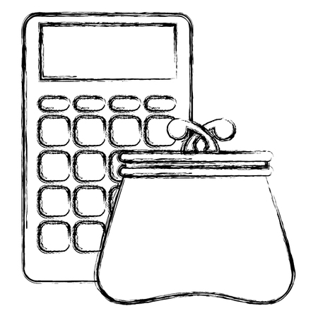 calculator with wallet icon vector illustration design