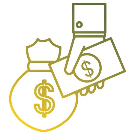 hand with bills and money bag vector illustration design