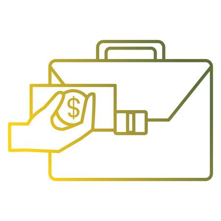 hand with bills and portfolio vector illustration design  イラスト・ベクター素材