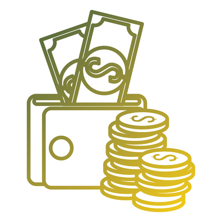 coins money with wallet and bills vector illustration design