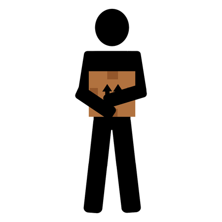 delivery worker lifting box silhouette vector illustration design