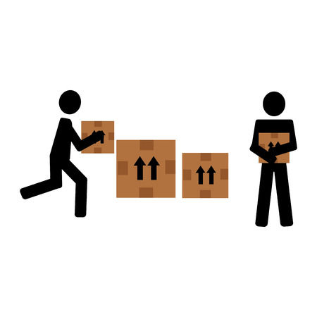 delivery workers lifting boxes silhouettes vector illustration design Ilustração