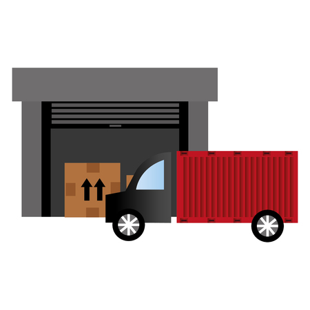 warehouse building with truck delivery service vector illustration design