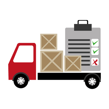 truck delivery with wooden boxes and checklist vector illustration design