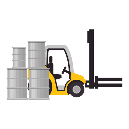 forklift and barrels delivery service vector illustration design