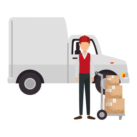 delivery worker with cart transport boxes and van vector illustration design Ilustração