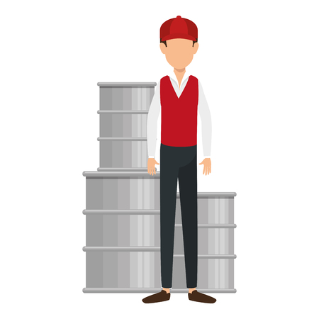 delivery worker with barrels vector illustration design Stock Illustratie