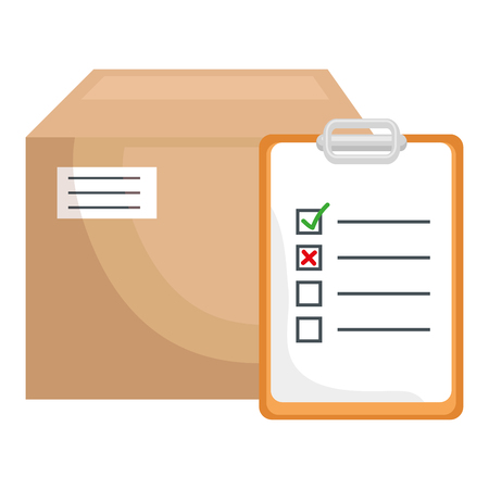 carton box with checklist vector illustration design