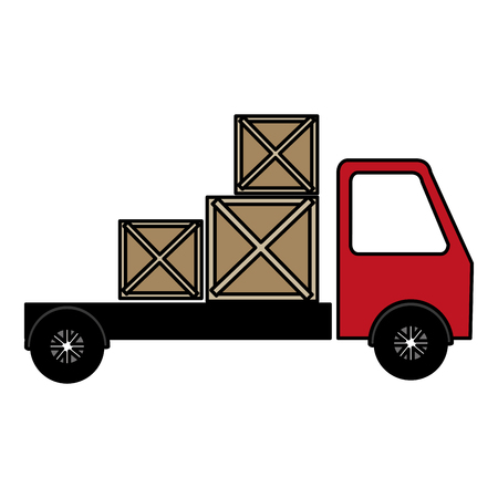 truck delivery with wooden boxes vector illustration design