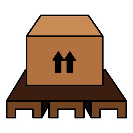 carton box in wood stowage vector illustration design