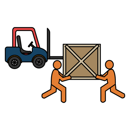 delivery workers with wooden boxes and forklift vector illustration design