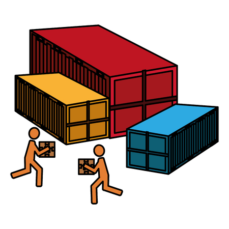 delivery workers lifting boxes and containers vector illustration design