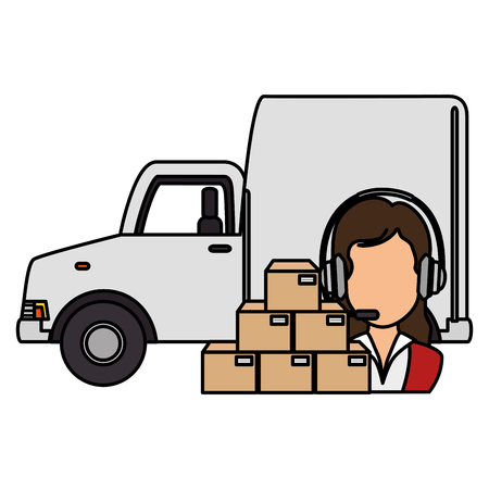 logistic woman worker with boxes and van vector illustration design