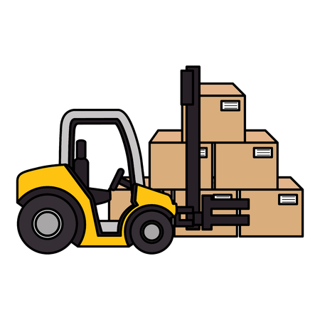 forklift with pile carton boxes vector illustration design Illustration