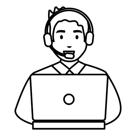 logistic worker with headset and laptop vector illustration design Иллюстрация