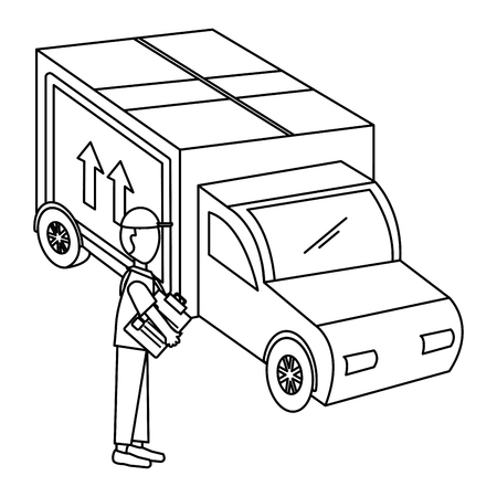 delivery worker with checklist and truck vector illustration design Ilustração
