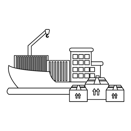 ship with pile boxes delivery service vector illustration design Illustration