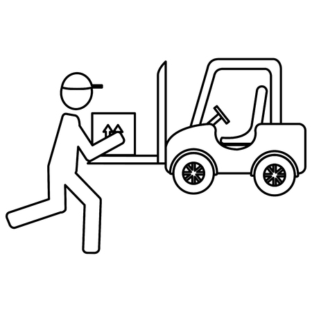 delivery worker lifting box and forklift vector illustration design