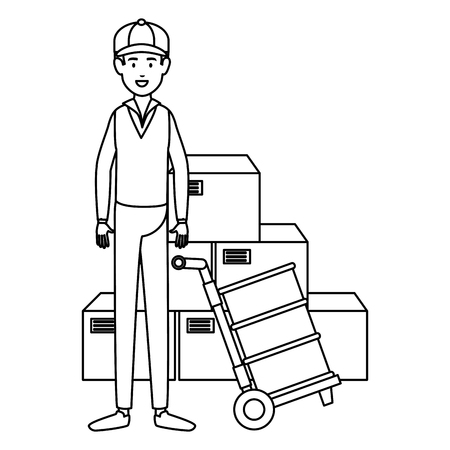 delivery worker with cart transport boxes vector illustration design
