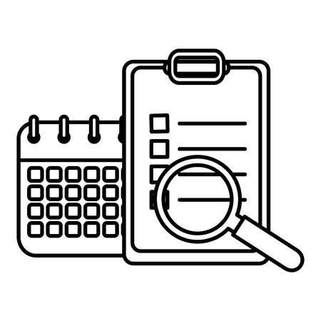 checklist with calendar and magnifying glass vector illustration design