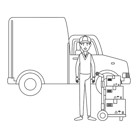 delivery worker with cart transport boxes and van vector illustration design Stock Illustratie