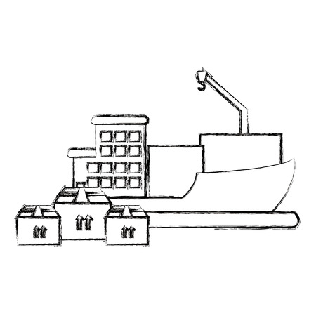 ship with pile boxes delivery service vector illustration design Ilustrace