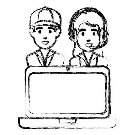 logistic workers with headset and laptop vector illustration design Illustration