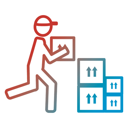 delivery worker with carton boxes silhouette vector illustration design