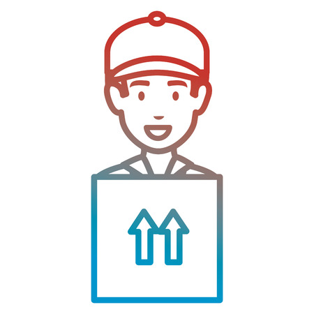 delivery worker lifting box vector illustration design