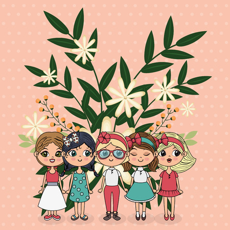 cute girls group characters with floral decoration frame vector illustration Ilustrace
