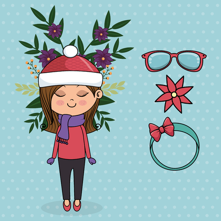 cute girl character with floral decoration and accessories vector illustration Illustration
