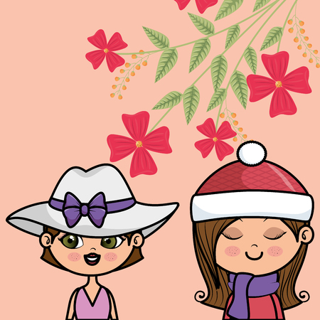 cute girls couple characters with floral decoration frame vector illustration Иллюстрация