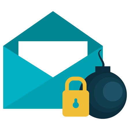 envelope mail with padlock and bomb vector illustration design Stock fotó - 104103735