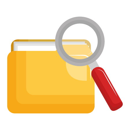file folder with documents and magnifying glass vector illustration design Imagens - 104103749