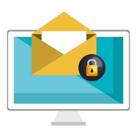 computer display with envelope and padlock vector illustration design