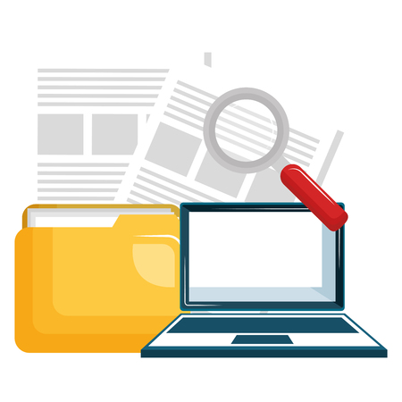 folder with laptop and magnifying glass vector illustration design