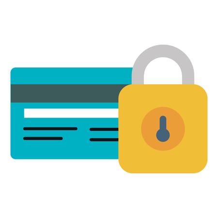 credit card with padlock vector illustration design