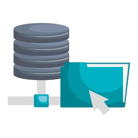 file folder with disk data server vector illustration design