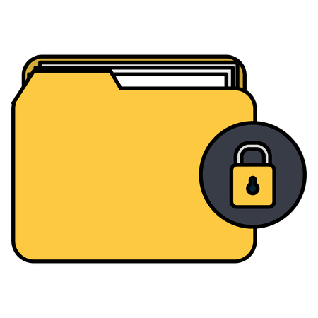 file folder with documents and padlock vector illustration design