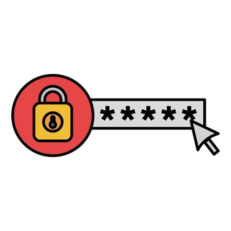 Sicherheitspasswort mit Vorhängeschloss Vektor-Illustration Design