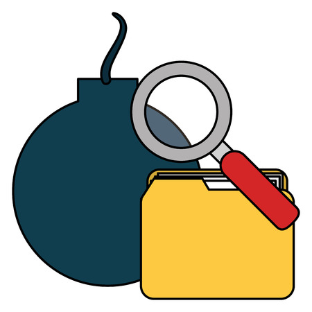 folder with bomb and magnifying glass vector illustration design 向量圖像