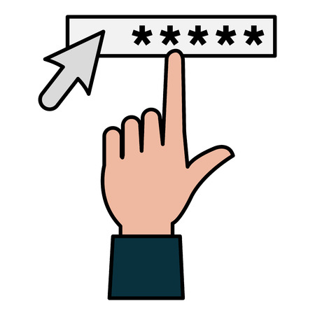 hand index with security password access vector illustration design
