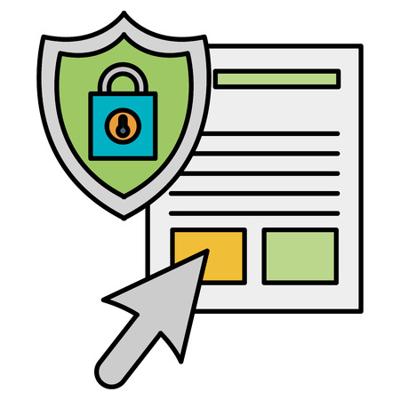 documents files with padlock and shield vector illustration design Illustration