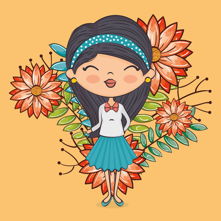 cute girl character with floral decoration vector illustration design
