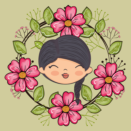 cute girl head character with floral frame vector illustration design