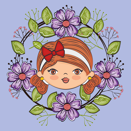 cute girl head character with floral frame vector illustration design Иллюстрация