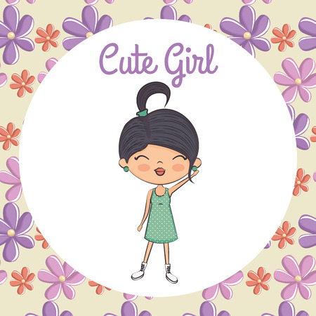 cute girl character with floral frame vector illustration design